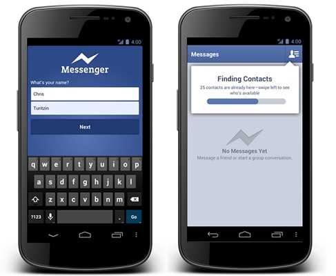 Facebook updates messenger for android sign up with just name phone